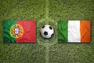 Portugal vs. Ireland flags on soccer field