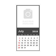 July 2018 calendar. Calendar planner design template with place for photo. Week starts on sunday. Business vector illustration.