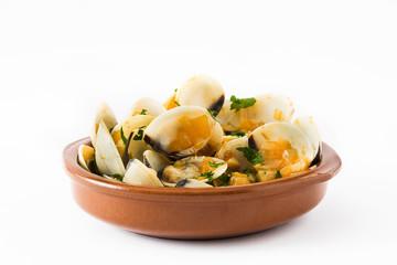 Clams with marinera sauce.Almejas a la marinera. Spanish recipe isolated on white background