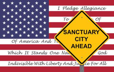 Caution Sign - Sanctuary City Ahead