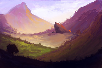 Fantastic landscape with rocks, concept art, digital drawing.