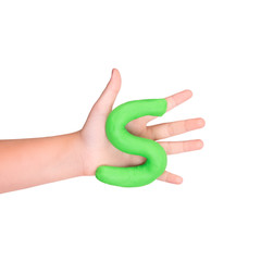 Part of the word slime. Green slime in the hands of a child on a white background.