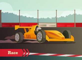Motor Race Flat Composition