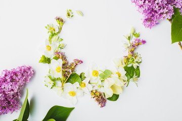 Spring flowers in the shape of a crescent on a white background