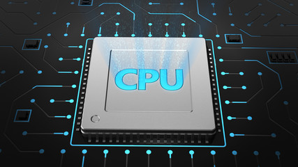3D render CPU chip on black circuit board. Technology background Computer circuit board chip cpu core motherboard and blue texture with processors microelectronics hardware concept electronic device
