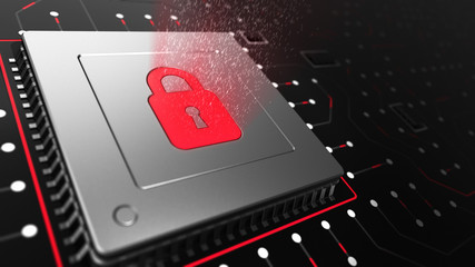 3D Render of a CPU on a motherboard with Locked CPU symbol representing cyber security and data protection. Internet security illustration.