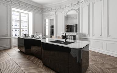 Clean bright stylish kitchen in modern flat