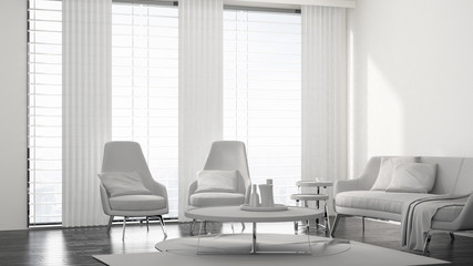 Fresh monochromatic white living room interior