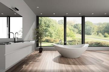 Large spacious modern bathroom overlooking a park