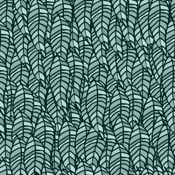 Leaves repeat pattern green colour vector background. All over foliage outlines black graphic green leaf small elements hand drawn illustration.