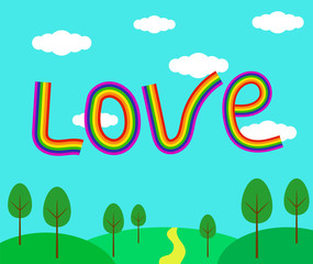 Love Word in a Form of Rainbow Summer Landscape