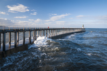 Whiby Pier. Whitby Harbour West Pier Extension, Yorkshire, England.