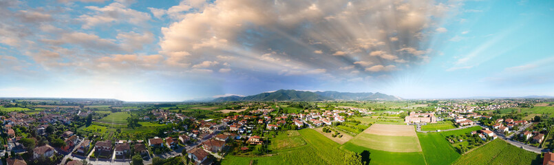 Spoed Fotobehang Luchtfoto Panoramic aerial view of beautiful countryside