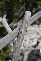 Astgabel an Holzzaun