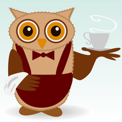 The owl-waiter in claret and butterfly burgundy, with a cup of steaming coffee, tea, a towel on the wing