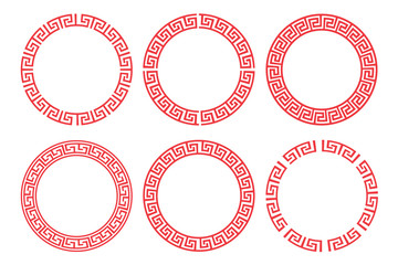 Chinese red circle frame set vector design.