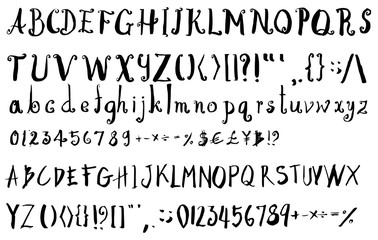 Set of Font brush illustration Hand drawn Sketch line vector eps10