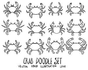 Set of Crab illustration Hand drawn doodle Sketch line vector eps10