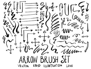 Set of arrow brush illustration Hand drawn Sketch line vector eps10