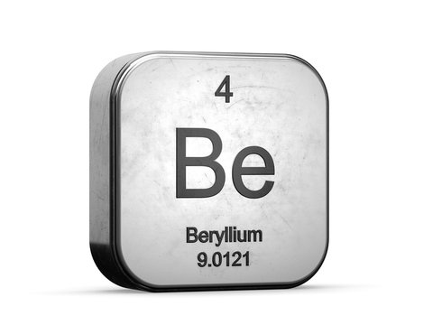 Beryllium element from the periodic table. Metallic icon 3D rendered on white background