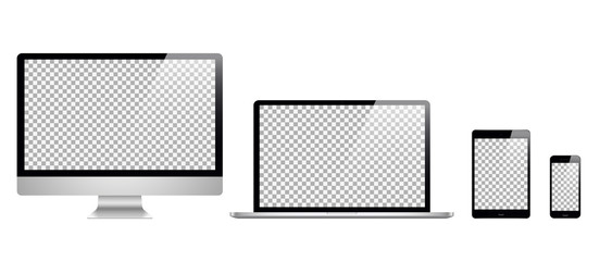 Realistic set computer, laptop, tablet, phone on a white background.