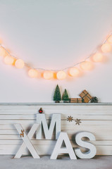 Home Christmas decoration on white background.