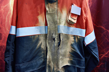 Working jacket after exposure to electric arc