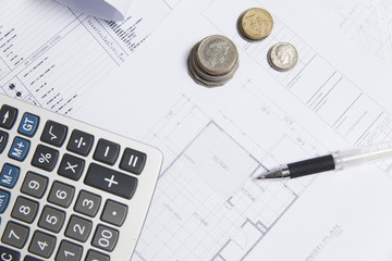 construction plan with calculator