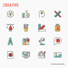 Creative thin line icons set of idea, puzzle, color palette, brushes, creative vision, development design. Vector illustration of banner, web page, print media.