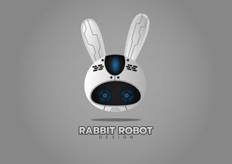 Rabbit robot logo design - vector illustration