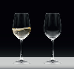 Vector realistic set of vine glasses - one empty and one full on white table isolated on black background - celebration, party, bar, anniversary
