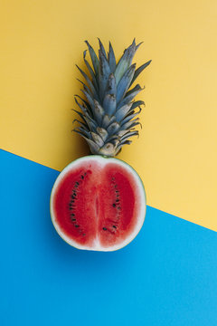 Hybrid fruit: watermelon mixed with pineapple