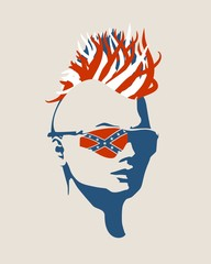 Portrait of beautiful woman in sunglasses. Half turn view. Curly hair painted by USA national flag colors. Mohawk hair style. Flag of the Confederate States of America on the glasses