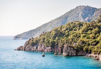 View of islands in Mediterranean Sea. Marmaris. Turkey