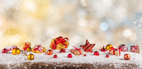 Christmas gifts on abstract background