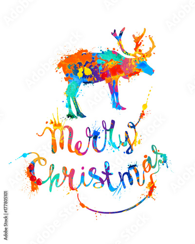Merry Christmas card with reindeer. Splash paint