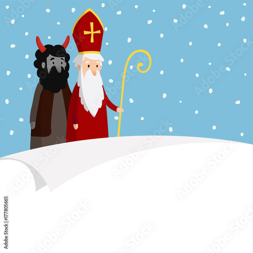 st nicholas with devil falling snow and blank paper cute