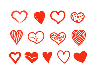 Hand drawn hearts vector collection. Design elements for Valentine's day