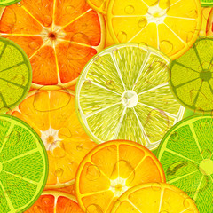 seamless pattern with different slice citruses: grapefruit, lemon, lime, orange.High-resolution seamless texture