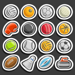 Vector set of Sports Balls, collection of sporting and gaming equipment, balls of different kinds of sports, boxing glove, ice hockey puck, badminton shuttlecock, curling stone on black background.