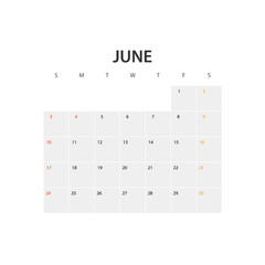 2018 year calendar template. June