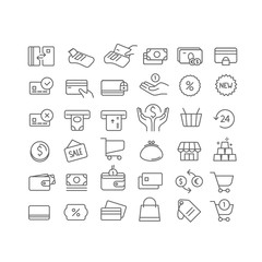 Simple set of line icons. Vector icons clipart isolated on white. Money, wallets, cards, coins etc