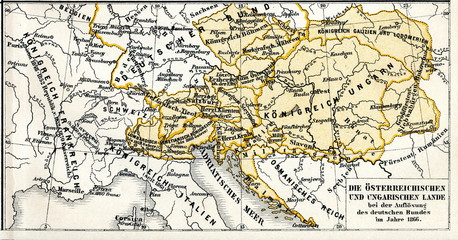 History of Austro-Hungarian Empire - Austrian and Hungarian lands in 1866, after Seven Weeks' War (from Meyers Lexikon, 1896, 13/304/305)