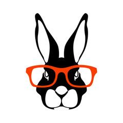 rabbit face head in glasses vector illustration flat