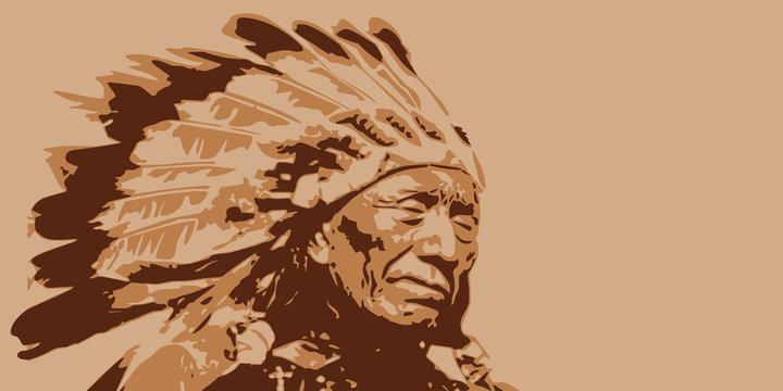 chef indien - américain - fond - Sioux - symbole - portrait - tribu - visage - guerrier