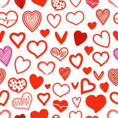Red hearts seamless background. Design elements for Valentines day