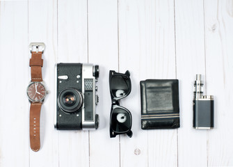 Men's accessories. Camera, watch, sunglasses