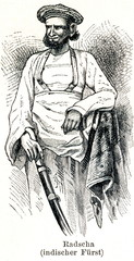 Raja, ruler in South and Southeast Asia (from Meyers Lexikon, 1896, 13/338/339)