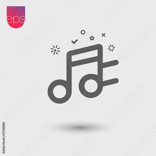 Music Simple Vector Icon Vector Emblem Isolated On Grey Background