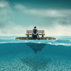 Businessman in the ocean